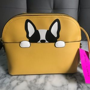 Betsey Johnson Yellow Peeking French Bulldog Bag